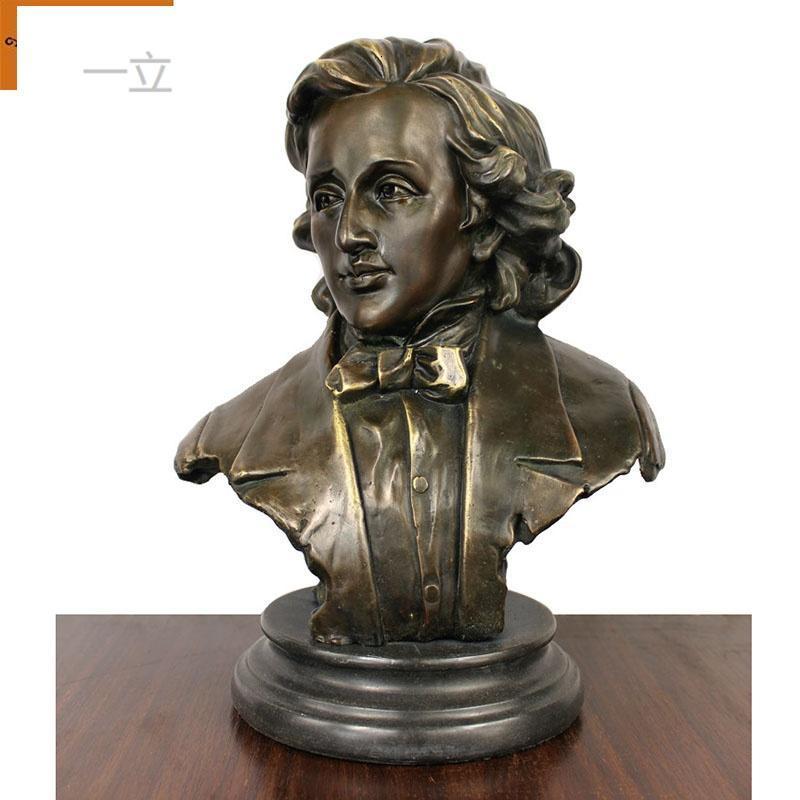 一立铜肖邦作曲家钢琴家肖邦半身像摆件人物肖像艺术品摆件