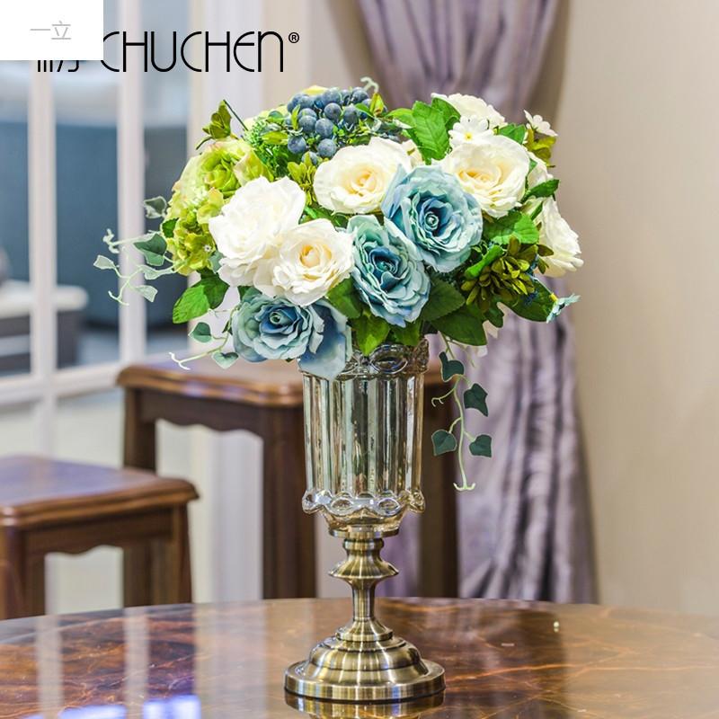 一立新款特价创意欧式高档客厅餐桌插花束透明玻璃花瓶干花花艺美式