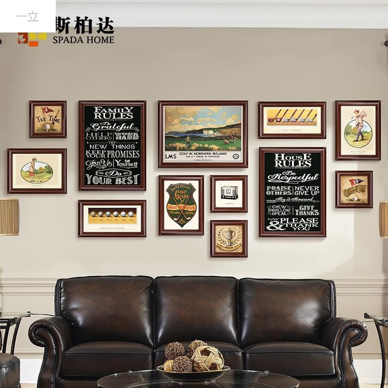 一立新款特价美式客厅办公室沙发背景墙装饰画创意风景大气黑相框挂画