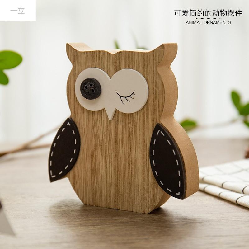 一立新款特价创意儿童房卧室可爱木质动物桌面小摆件装饰品宿舍个性
