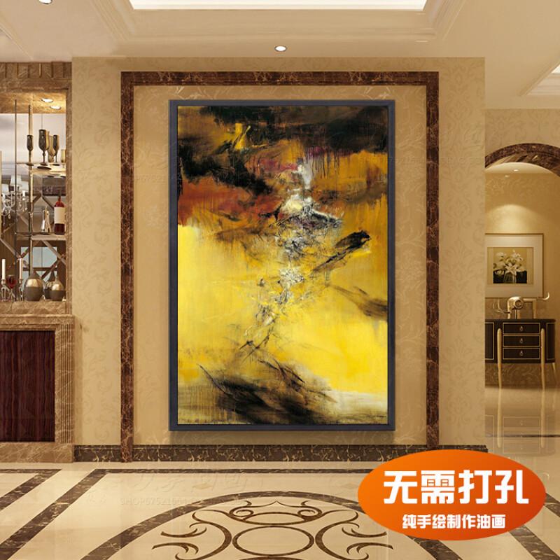 手绘玄关油画现代简约装饰画走廊过道挂画定制赵无极抽象画竖版