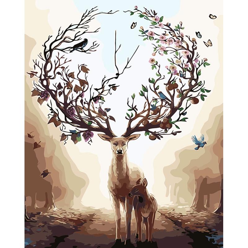 数字油画diy客厅动物风景淡彩手绘画银光冰鹿40*5060*