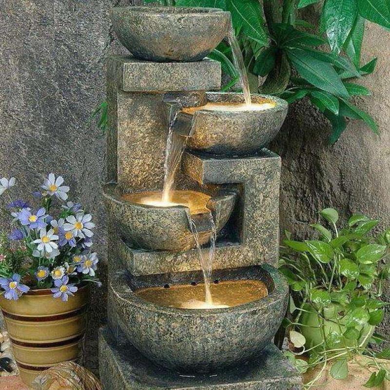 大型欧式喷泉流水水景摆设室内风水轮摆件花园假山盆景装饰工艺品图片