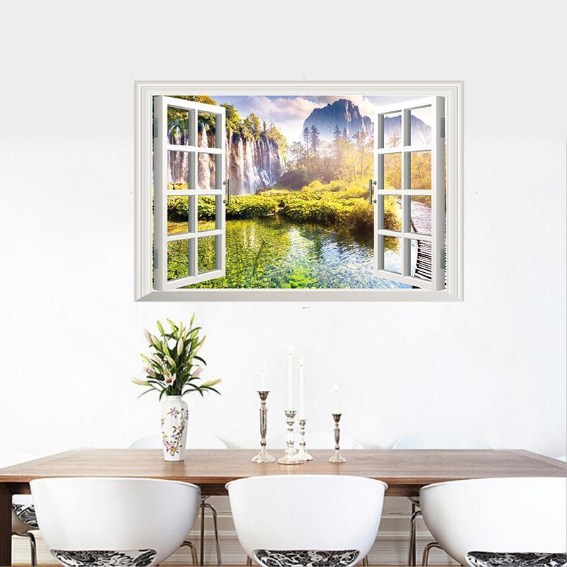山明水秀假窗风景墙贴 客厅卧室寝室瓷砖墙壁玄关防水贴纸贴画