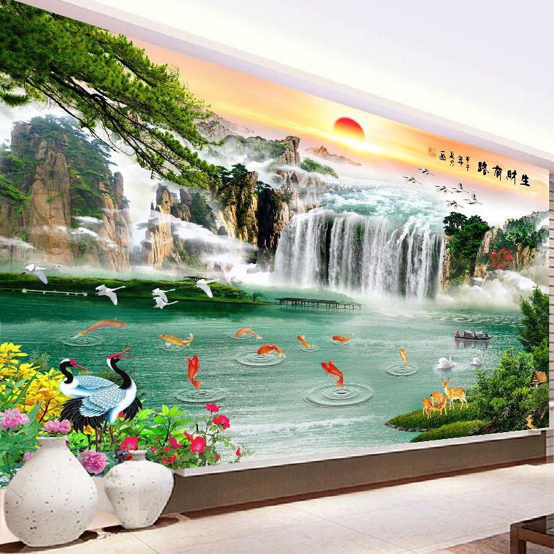 新款5鉆石畫滿鉆流水生財十字繡客廳貼鉆山水風景畫大幅點磚