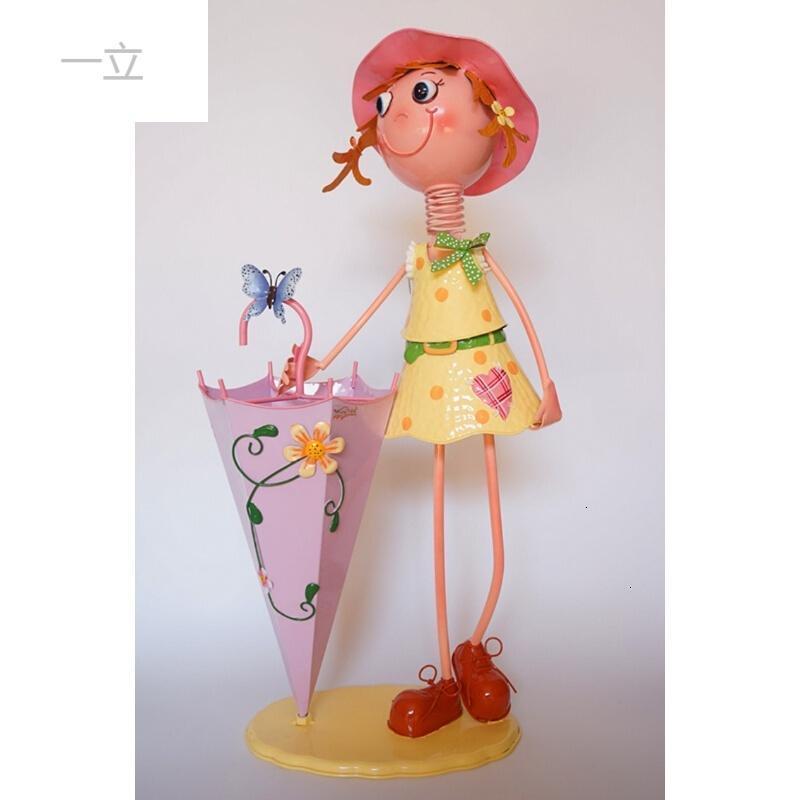 可爱卡通创意时尚欧式雨伞桶金属铁皮娃娃客厅阳台花园户外