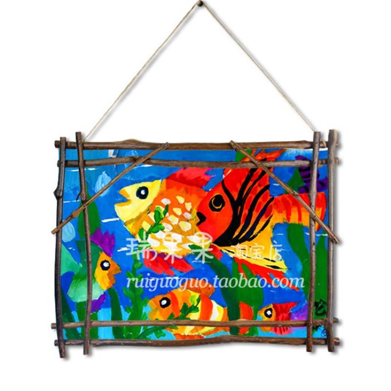 大自然树枝画框幼儿园挂饰吊饰环境布置装饰儿童美术绘画作品展示