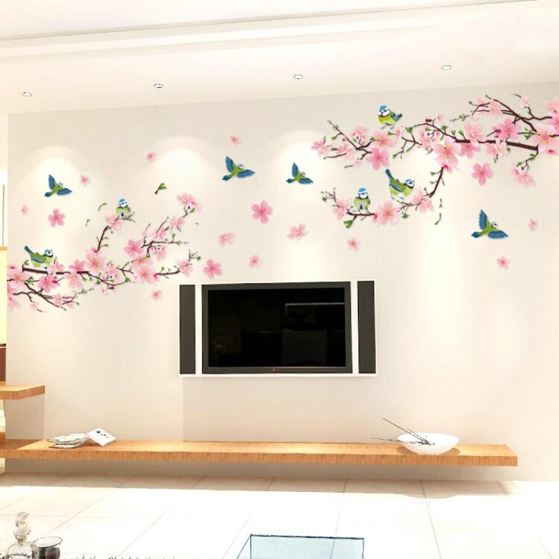 客厅装饰中国风景电视背景墙贴画自粘卧室沙发墙壁贴纸可移除桃花