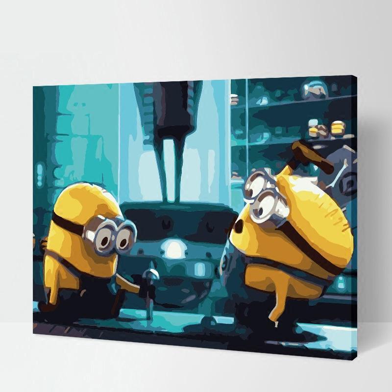 diy数字油画儿童房手绘卡通简单填色画动漫客厅油彩装饰画 小黄人