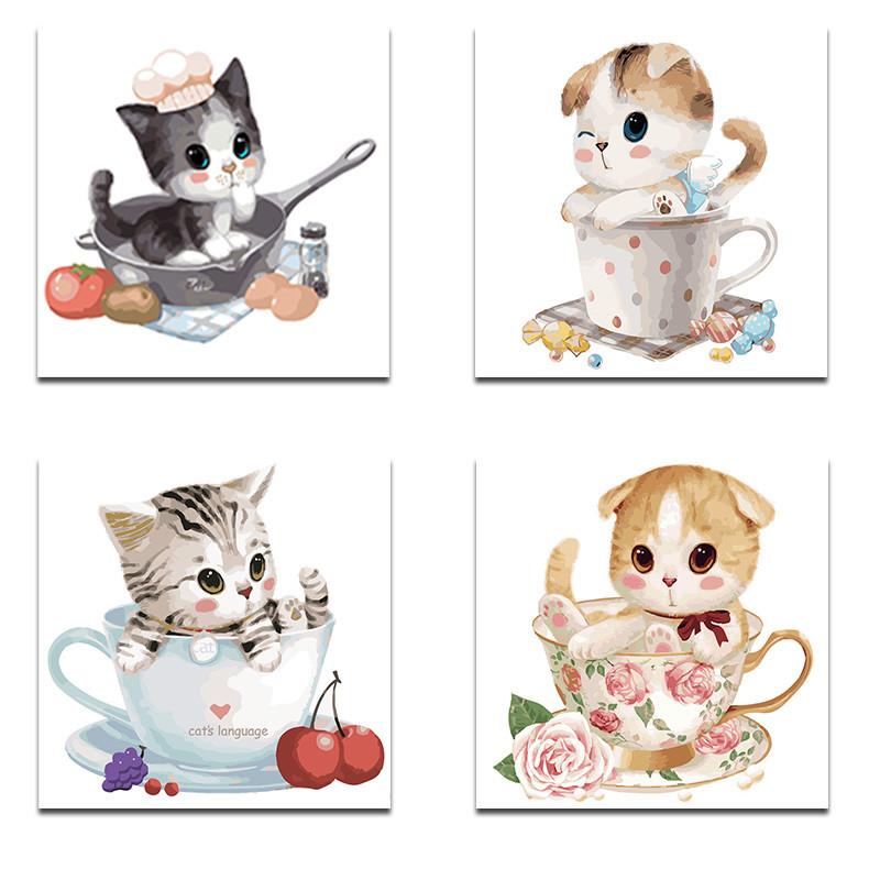 diy数字油画 动漫卡通动物萌宠儿童手绘填色油彩装饰画 茶杯猫