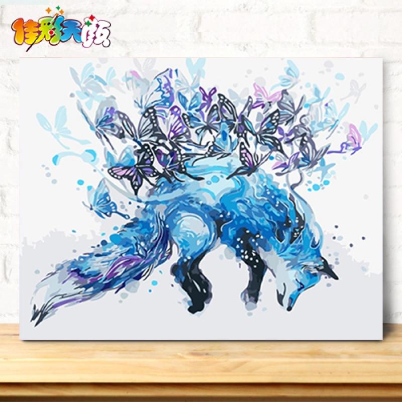 【】 diy数字油画客厅卡通动漫动物手绘填色装饰水彩马