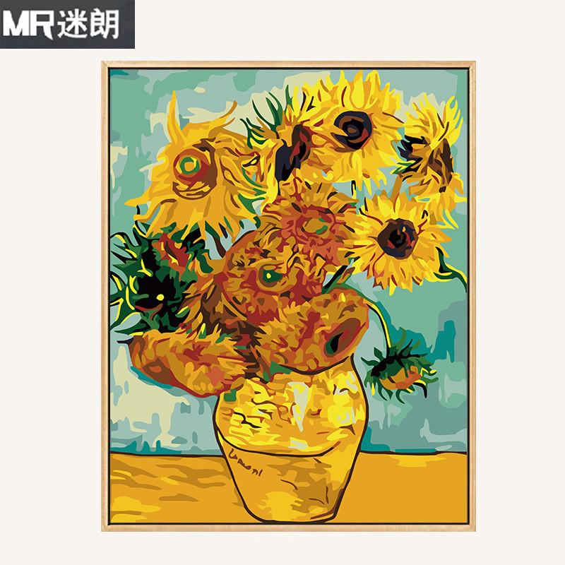 diy数字油画 花卉风景抽象客厅手工绘油彩装饰画梵高莫奈名画