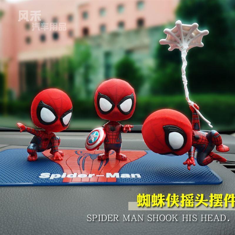 太阳能汽车摆件摇头可爱创意车内小娃娃公仔装饰用品钢铁侠蜘蛛侠