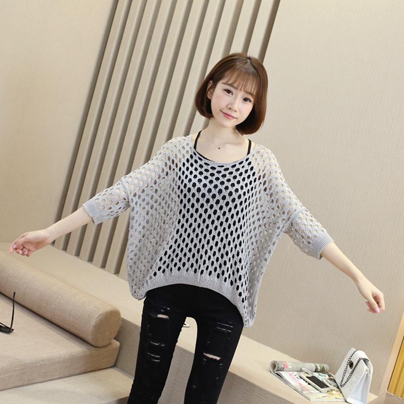 新款韩版秋季镂空罩衫针织衫女套头薄款宽松大码网衫中长款蝙蝠袖上衣