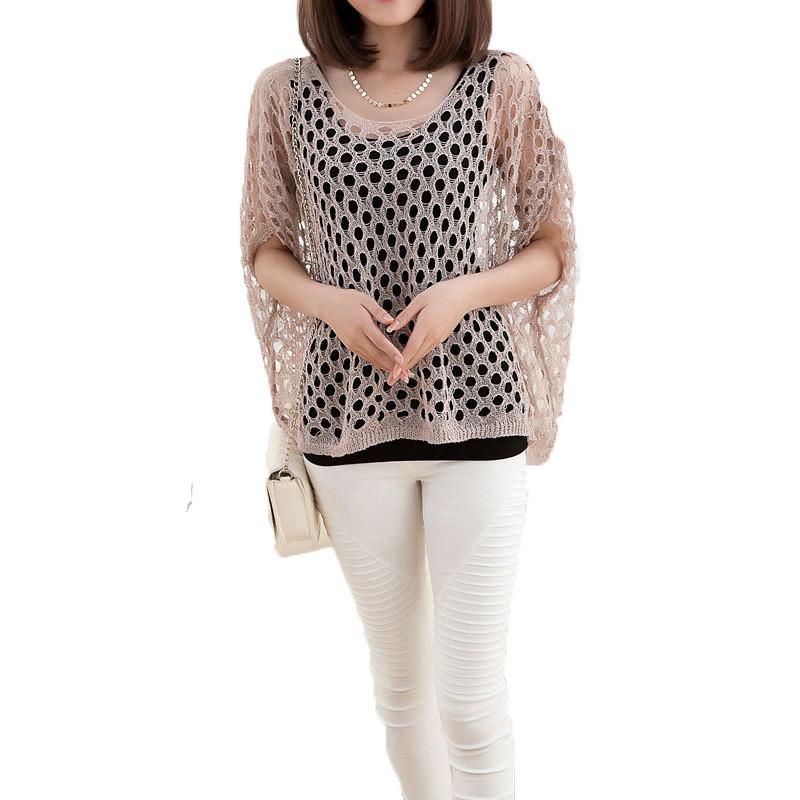 新款夏季韩版蝙蝠袖超薄罩衫200斤夏天大码镂空针织衫