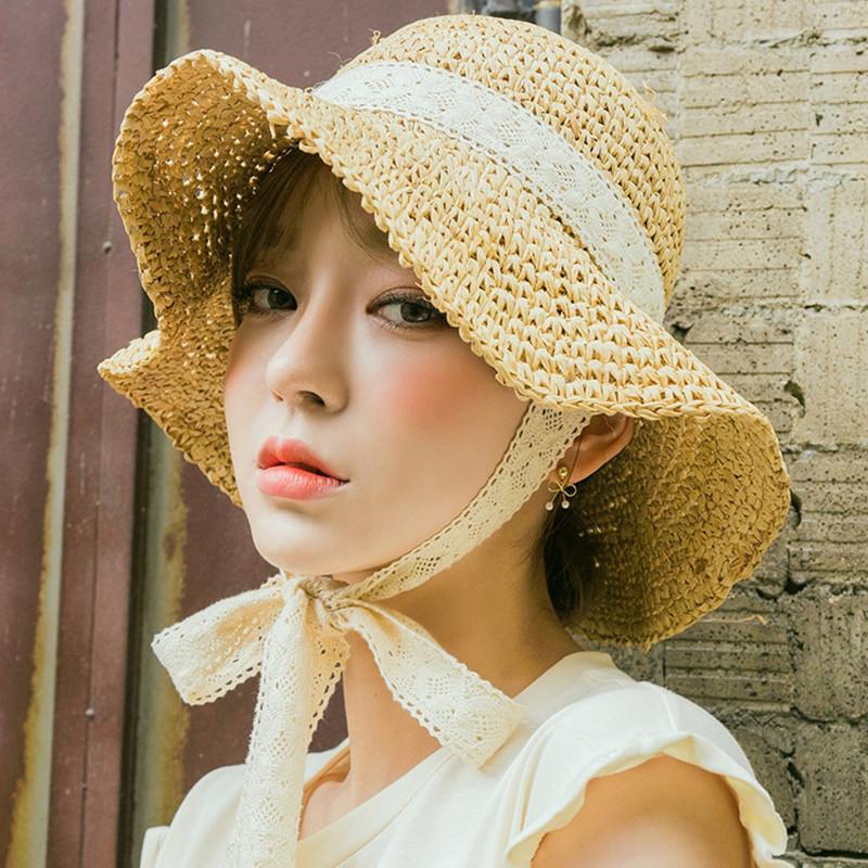 新款蕾丝系带草帽女丝带帽子手工韩国编织帽子女夏天韩版百搭遮阳帽