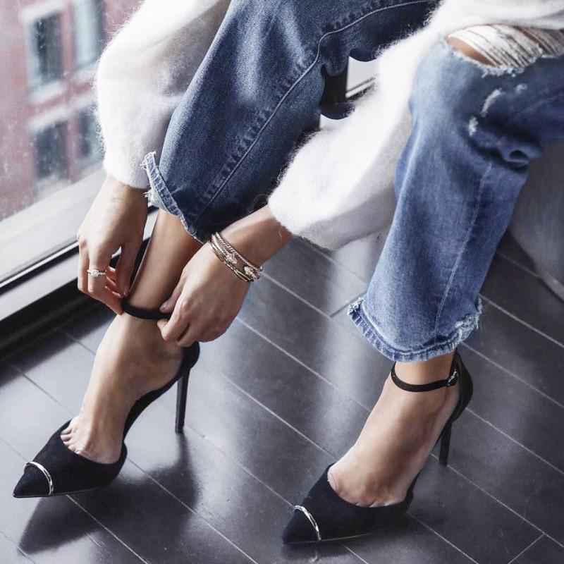 热卖秋季新款杨幂同款鞋一字扣尖头细跟高跟鞋浅口中空黑色单鞋女鞋子