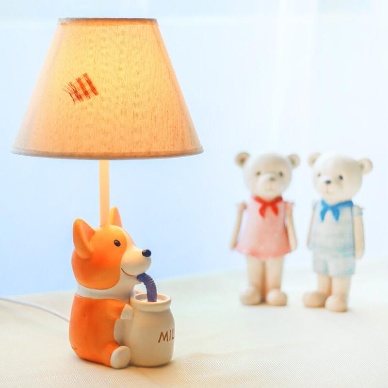 (aiboully)创意卡通可爱小狗柯基台灯卧室儿童房床头灯送女生生日礼物图片