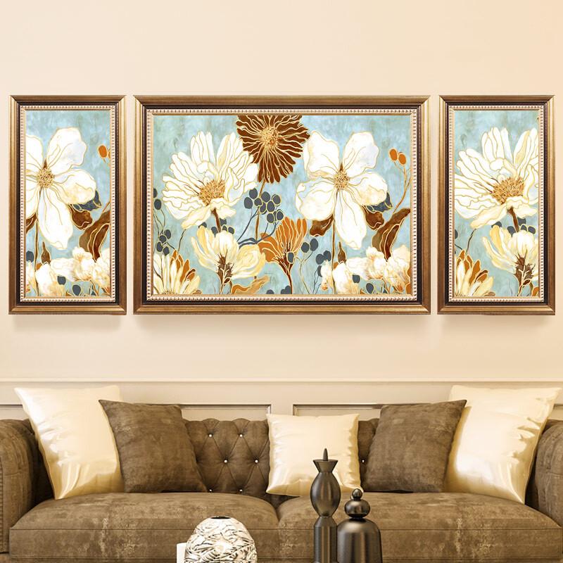 美式客厅装饰画欧式沙发背景墙挂画餐厅卧室样板房间组合壁画图片