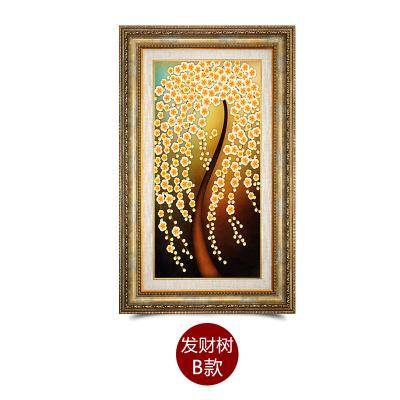 客厅装饰画发财树欧式油画玄关画餐厅书房有框画壁画走廊挂画都市诱惑