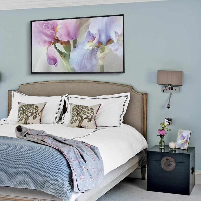 主卧背景墙装饰花开富贵卧室床头装饰画温馨挂画欧式油画图片