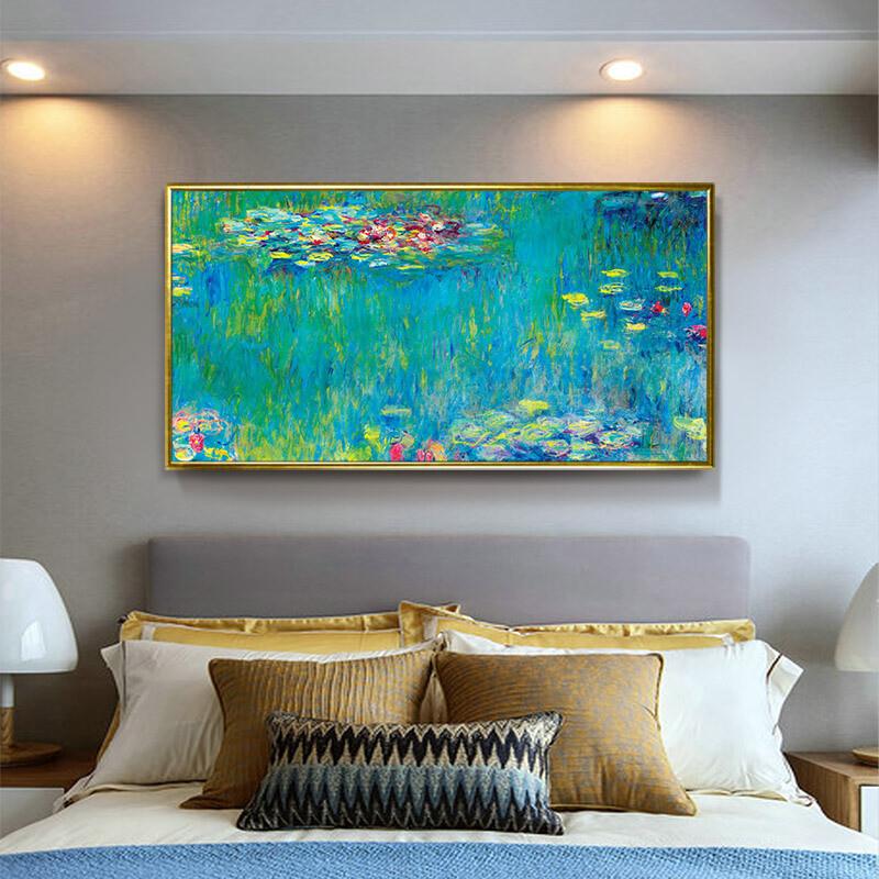 莫奈风景床头卧室装饰画客厅沙发背景墙挂画蓝色现代大幅大尺寸画蓝色