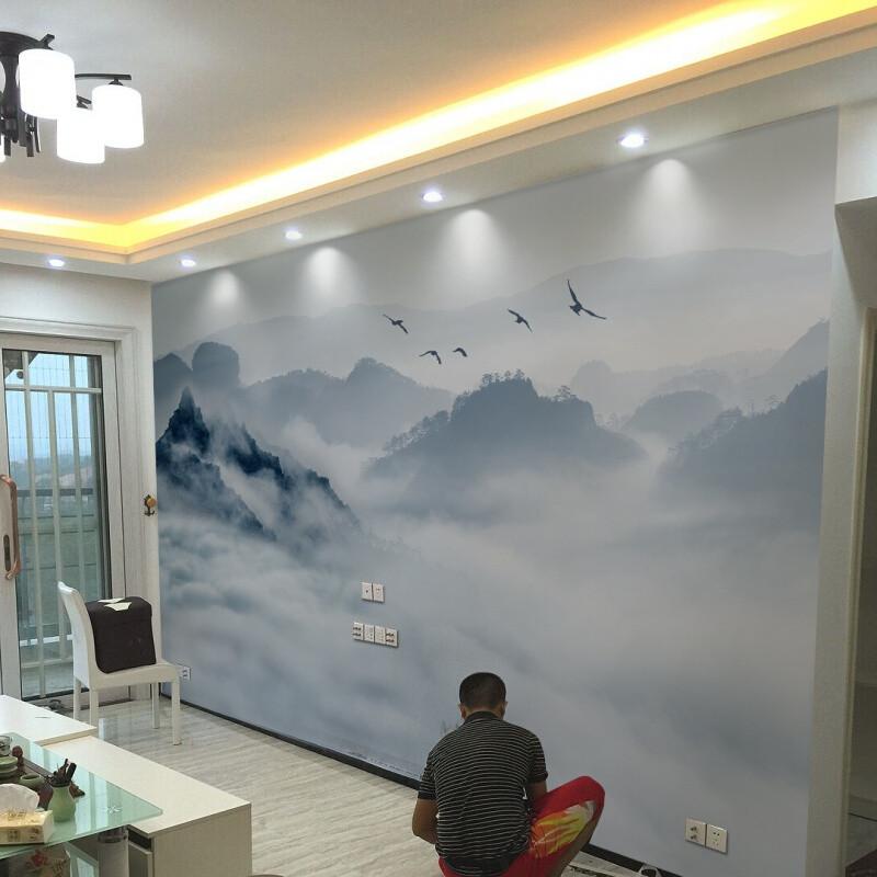 中式山水壁纸3d立体电视背景墙壁画8d客厅沙发墙纸5d影视墙墙布(无缝)图片
