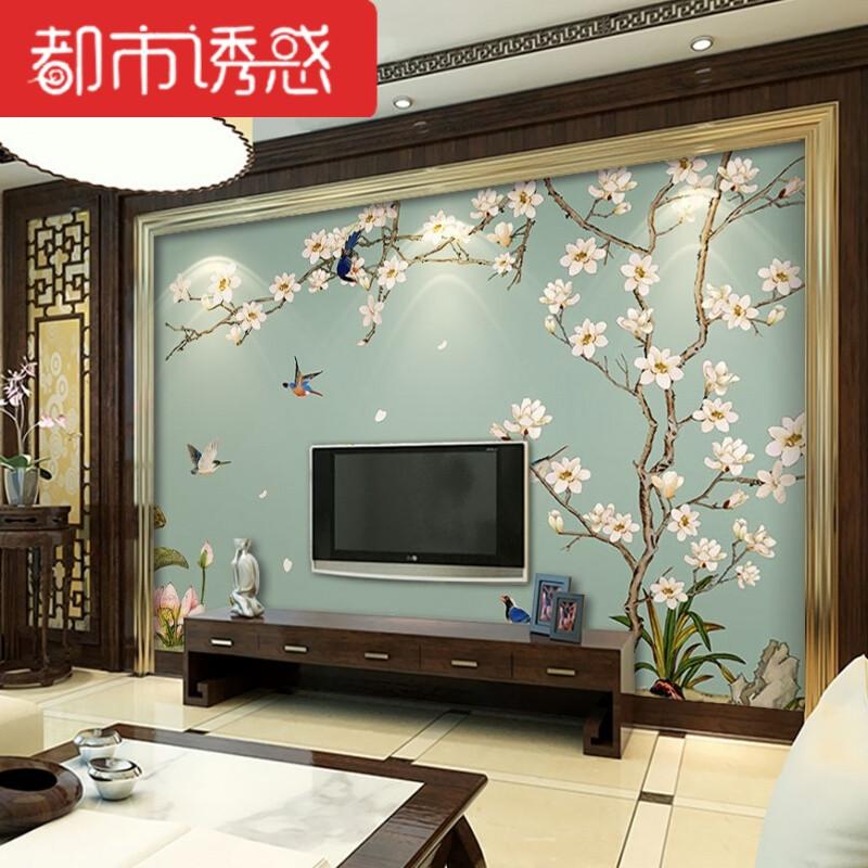 电视背景墙壁纸手绘花鸟3d新中式墙纸影视墙壁画无缝墙布现代简约