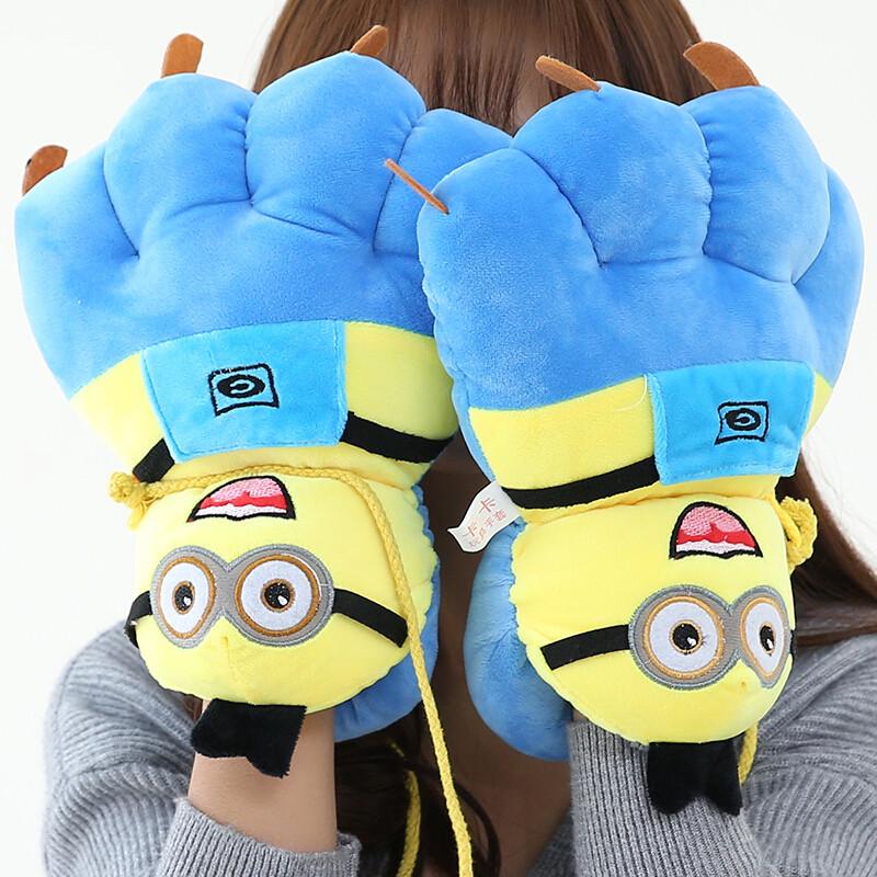 韩版熊掌动物卡通手套女冬季暴爪女士可爱学生全指加厚保暖手套小黄人