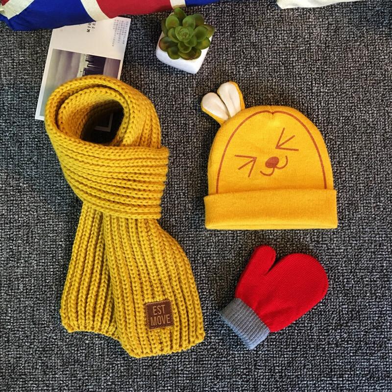 三件套秋冬儿童毛线帽子围巾男孩女宝宝婴儿纯棉针织套头护耳帽潮qq三