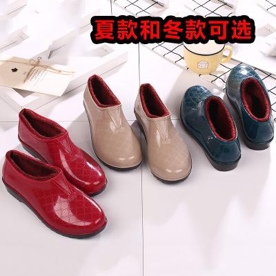 低帮防水鞋雨鞋雨靴胶鞋套鞋防滑厨房加棉加绒加厚保暖女成人冬季