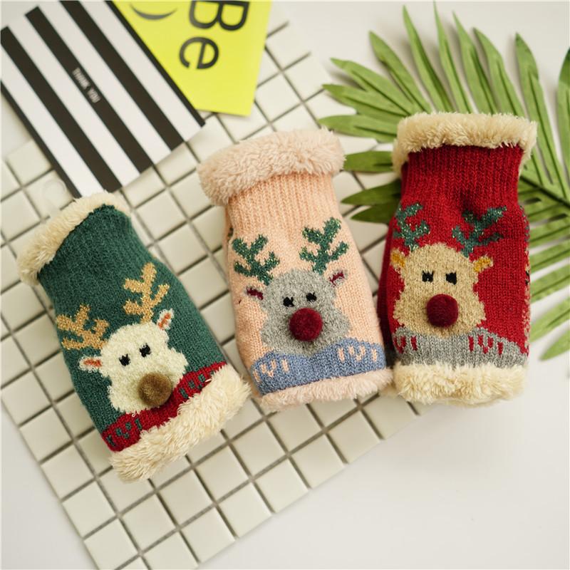 手套冬季女可爱韩版 日系学生加厚加绒保暖半截露指 女士手套冬