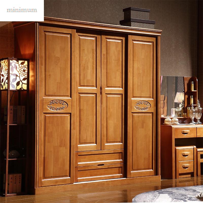 实木衣柜 推拉门衣柜 现代简约橡木衣橱 卧室套房 两门 三门 四