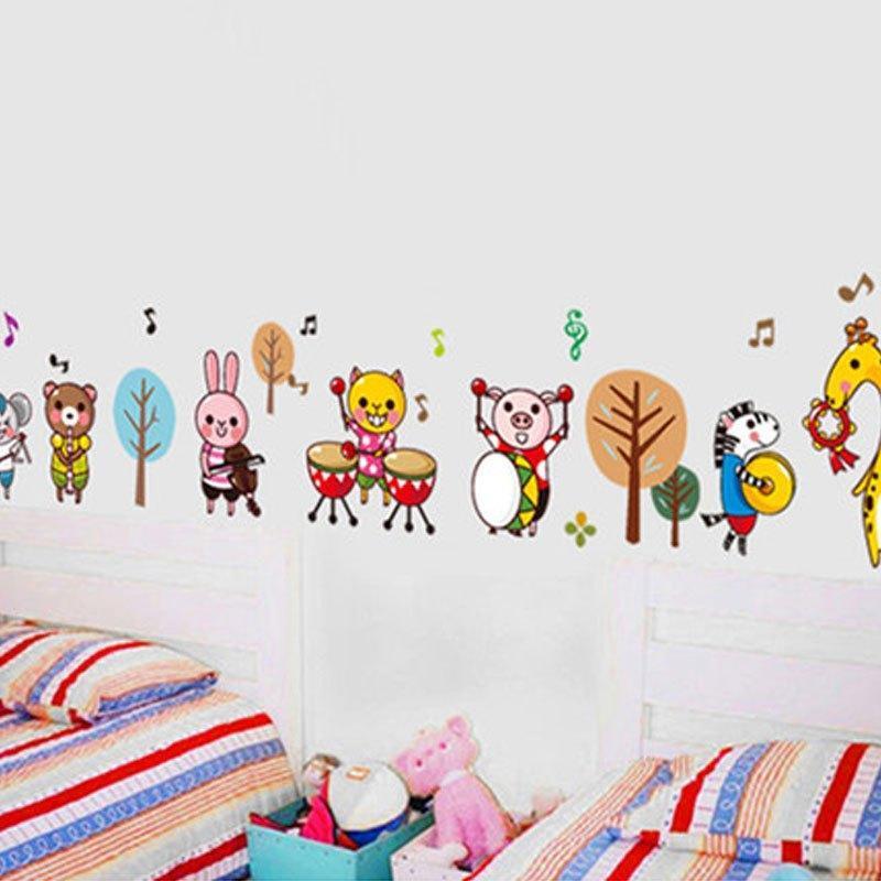 欢乐动物墙贴卡通儿童房间背景贴画创意宝宝房布置贴纸可移除卧室客厅