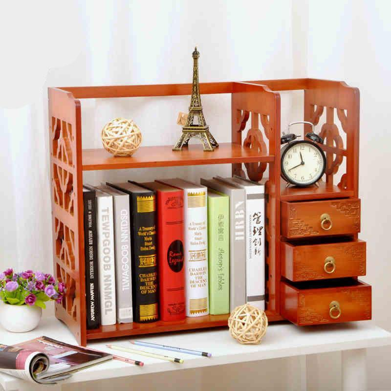 书架简易电脑桌架桌面桌上小书架置物架办公桌收纳置物架储物架书柜柜图片