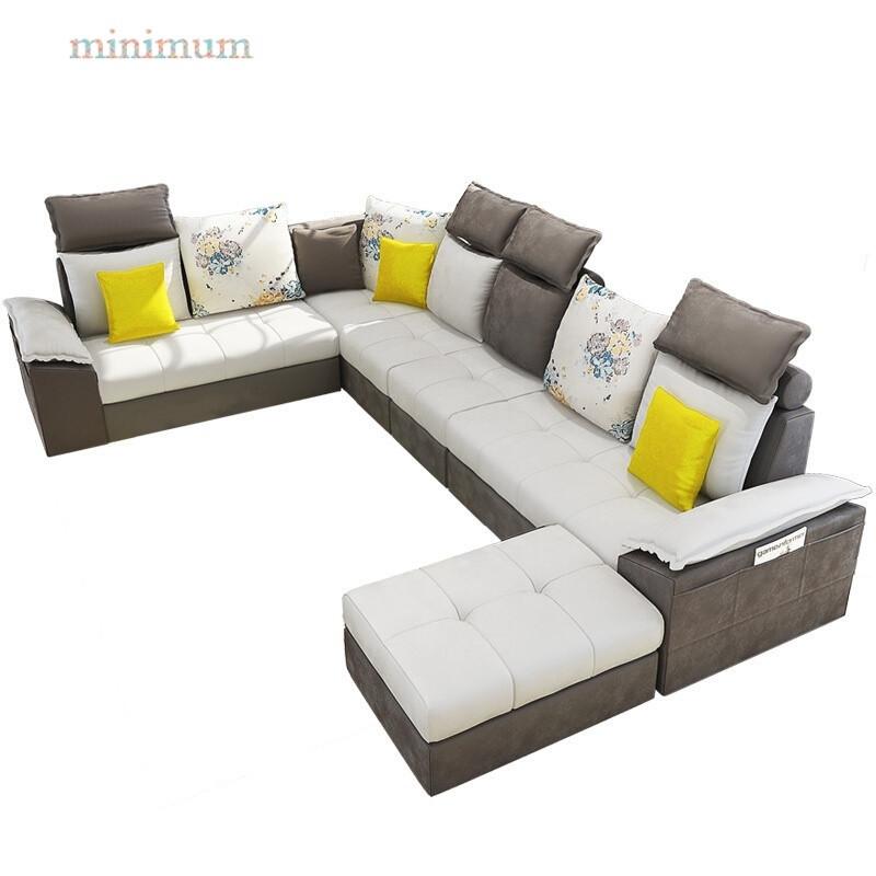 布艺沙发组合小户型简约现代可拆洗客厅家具转角u型储物北欧沙发