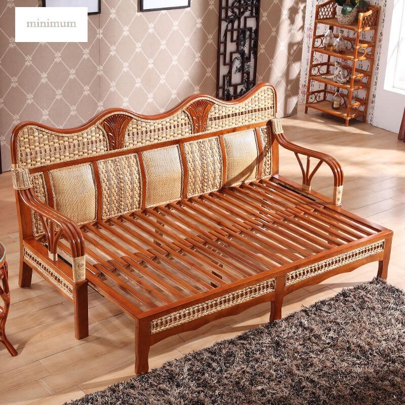 真藤多功能推拉两用沙发床中式小户型实木藤编推拉床三双人1.图片