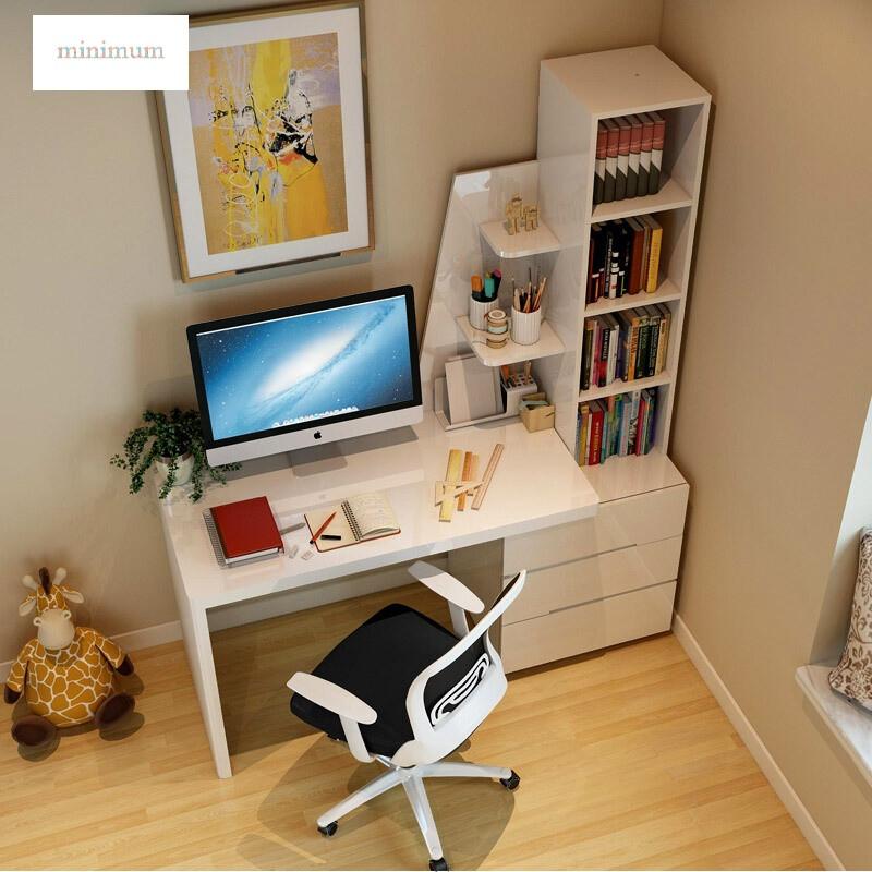 家具电脑桌简约现代家用电脑台式书桌组合带书架卧室桌子