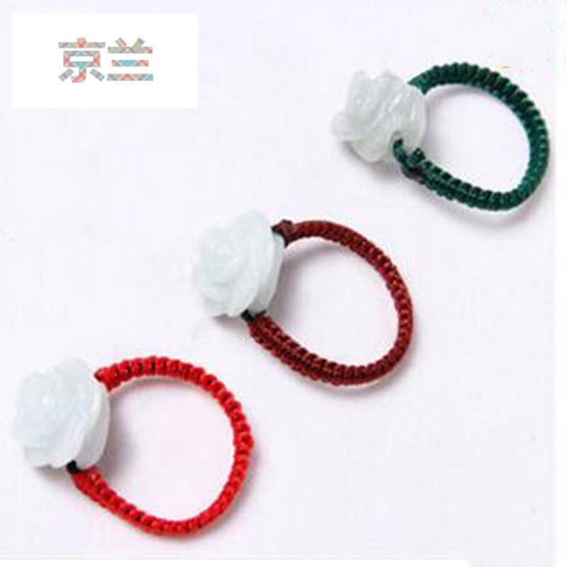 jinglan 京兰糯种翡翠手工红绳编织女士 雕花玉戒指新年礼物
