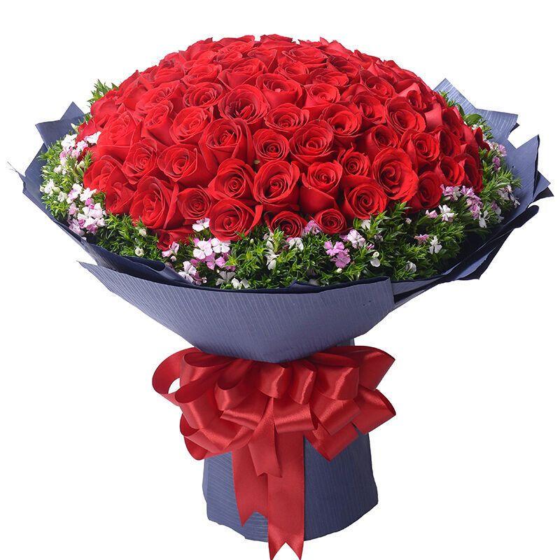 情人节母亲节天津鲜花99朵红玫瑰花束同城速递花店上门送花