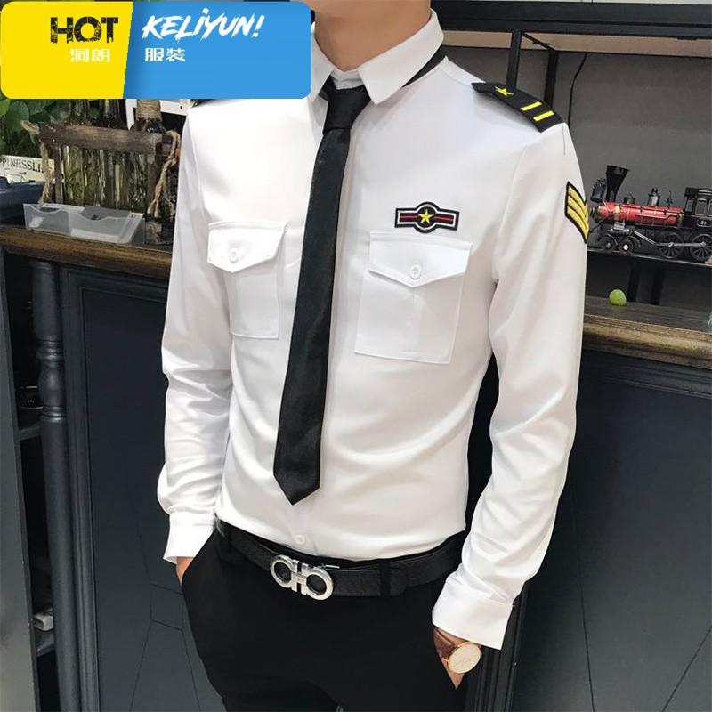 精品男装秋季新款空少制服男修身韩版短袖衬衫夜店发型师个性潮流长袖图片