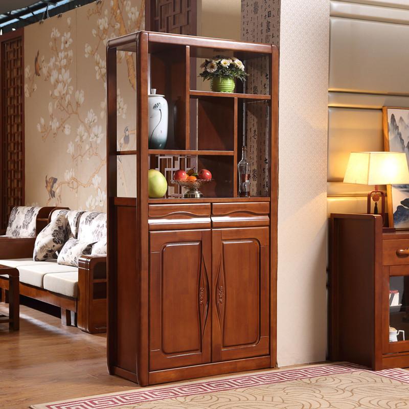 双面现代中式简约小户型屏风鞋柜酒柜隔断玄关橡木实木1米间厅柜图片