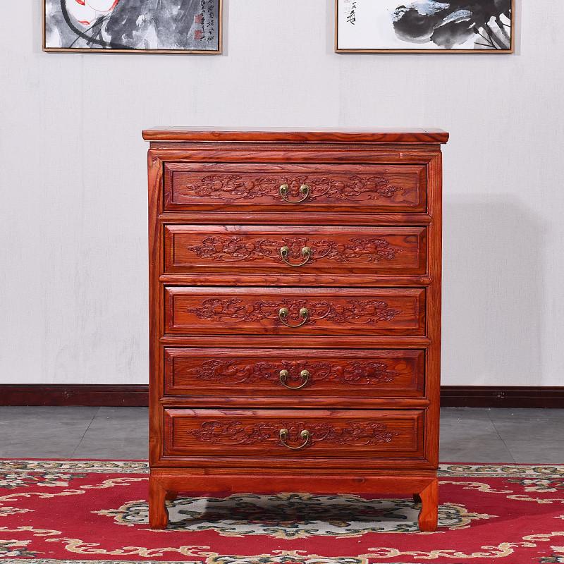 明清整装简约雕花款成人仿古中式实木家具五斗柜蝙蝠餐边柜储物柜