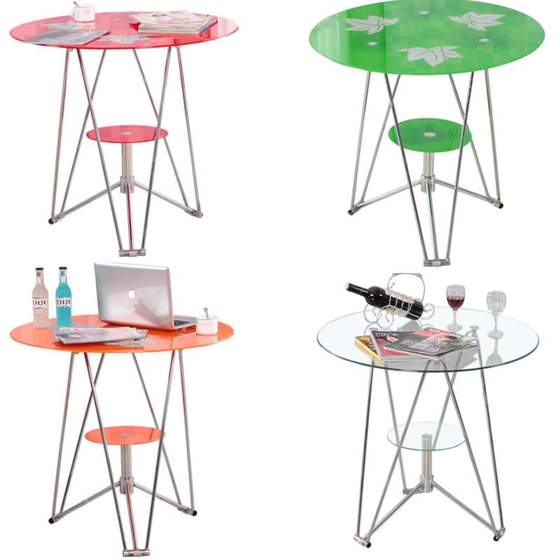 洽谈桌圆桌钢化玻璃茶几简约现代咖啡桌小桌子玻璃桌子餐桌椅组合