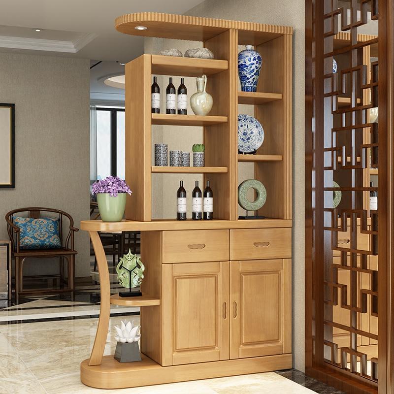 一米实木间厅柜小户型1米隔断柜酒柜1.2米双面屏风玄关柜门厅鞋柜