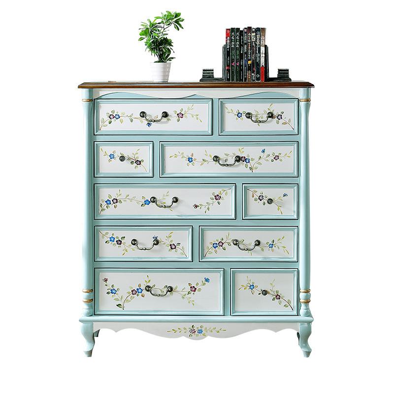 美式斗柜复古乡村实木欧式实木客厅柜子手绘家具玄关柜地中海斗柜