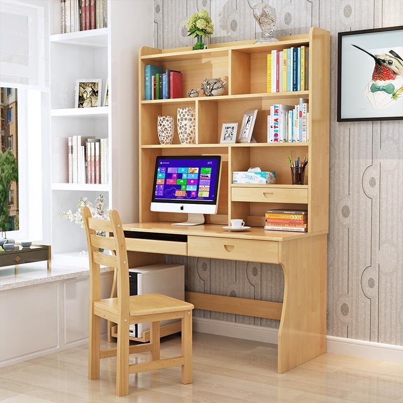 实木书桌书架组合家用写字台带书柜学生电脑桌写字桌实木