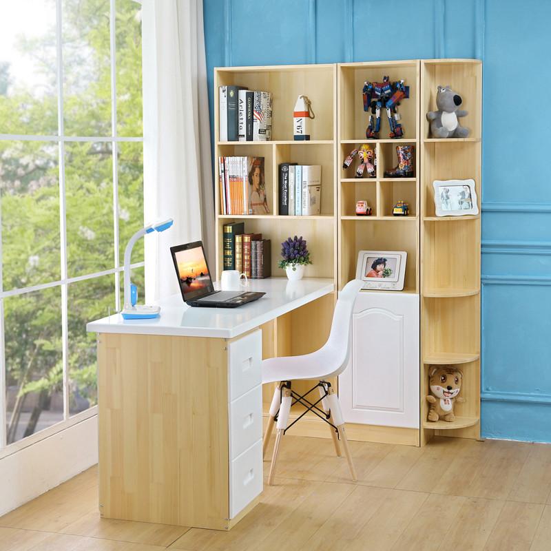 实木电脑台式桌转角书柜书桌书架组合学生家用写字桌简约办公桌子图片