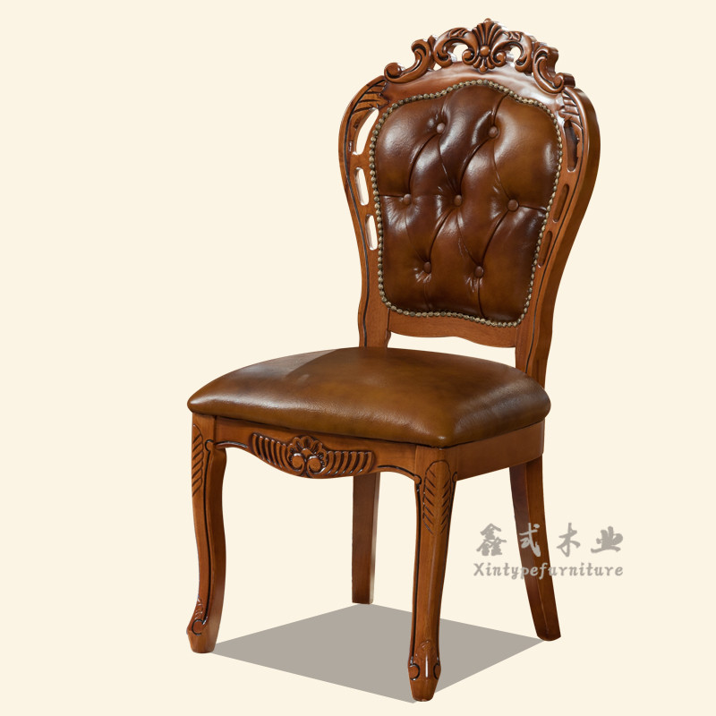 欧式餐椅 实木电脑雕花咖啡麻将扶手椅子美式酒店接待洽谈皮椅