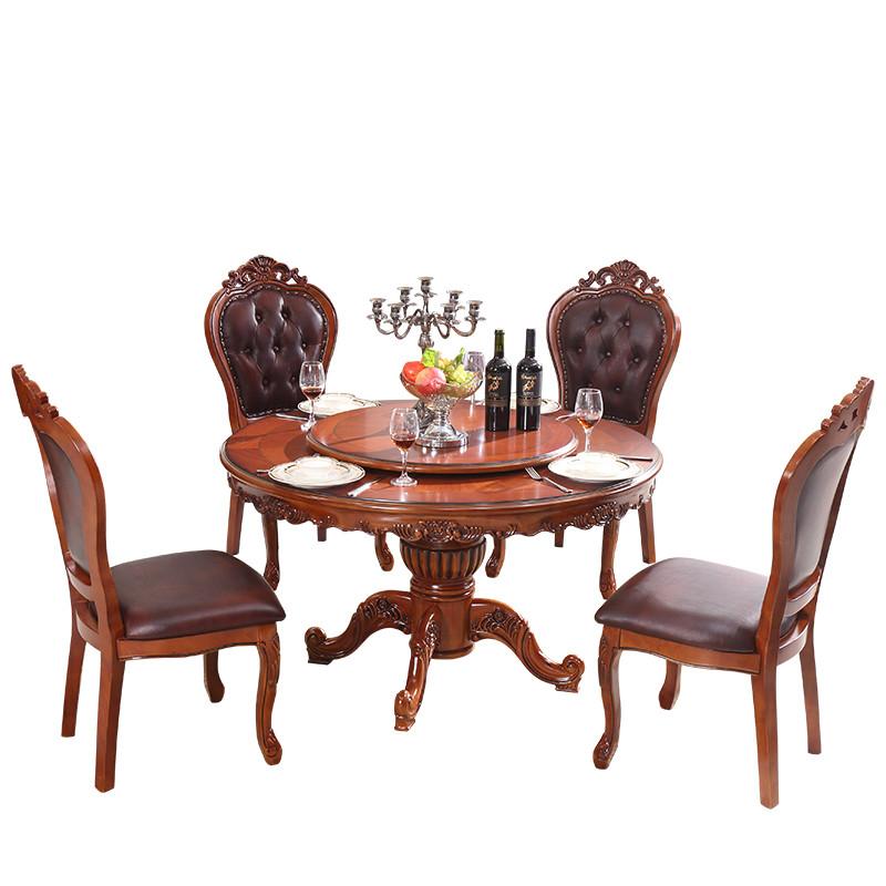欧式小户型餐桌6人 美式实木圆形歺桌大理石圆桌椅组合家用吃饭桌
